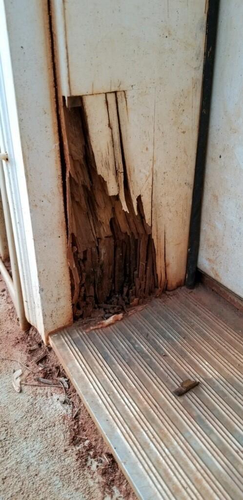 Deteriorated Wood on Exterior Door Frame